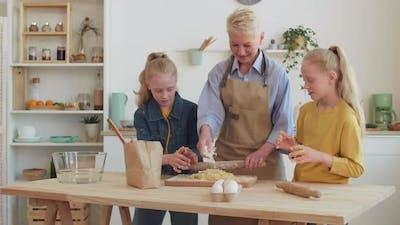 Grandma Cooking with Granddaughters
