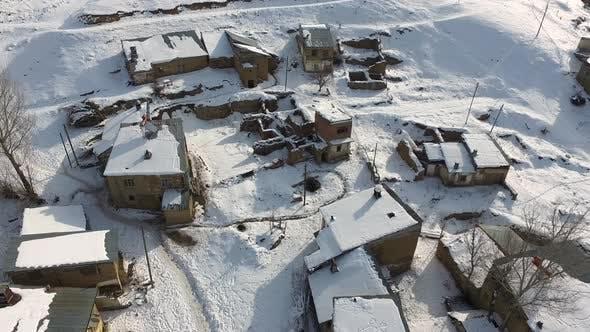 Snowy Ruin Poor Village Houses in Afghanistan Geography