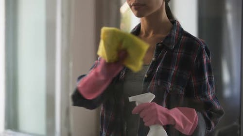Homemaker cleaning house, creating atmosphere of cleanliness and comfort