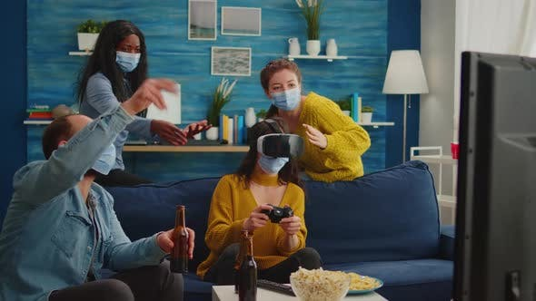 Woman Playing Video Games Wearing Vr Headset
