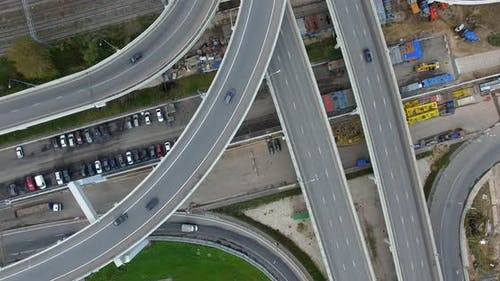 Aerial Shot of Multilevel Road Intersection Over Rail Tracks, Moscow