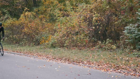 Thumbnail for Man Intensive Training on Road Bicycle in Fall Park. Cycling Workout out Of the Saddle Outdoor