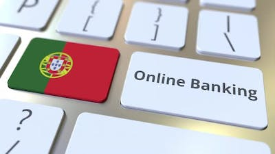 Online Banking Text and Flag of Portugal on the Keyboard
