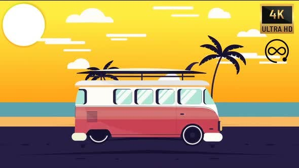 4K - Caravan Trip And Sunset