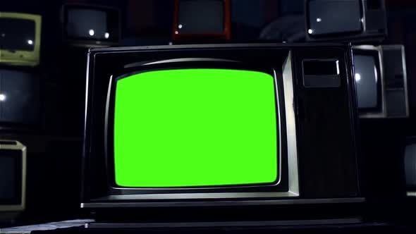Vintage TV Set with Green Screen. Dolly In. Dark Tone.
