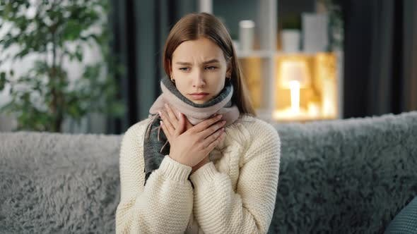 Thumbnail for Sad Woman Suffering From Sore Throat