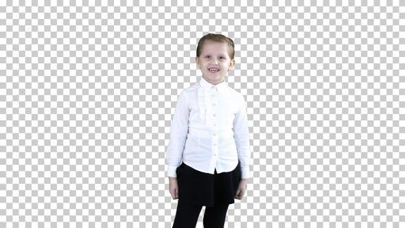 Thumbnail for Happy cute little girl walking in the, Alpha Channel