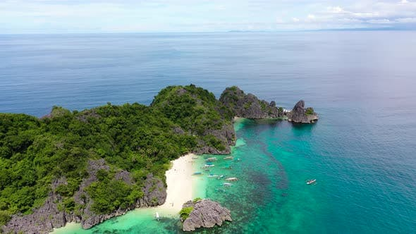 Caramoan Islands, Camarines Sur, Matukad, Philippines. Tropical Island with a White Sandy Beach.