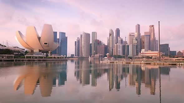 Thumbnail for Singapore Skyscrapers and Pink Morning
