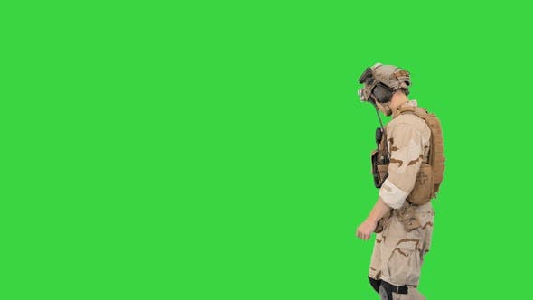 Thumbnail for US Army Rangers Walking By on a Green Screen, Chroma Key.