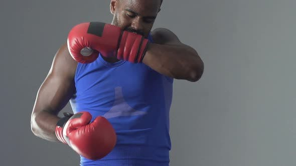 Thumbnail for Latin Boxer Wearing Protective Gloves, Shadow Fighting In Gym, Sense Of Purpose