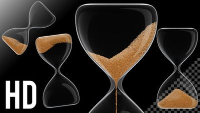Hour Glass / Sand Clock in Transparent Background 60 Seconds - HD