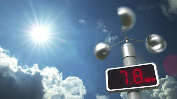 Thumbnail for Digital Anemometer Displays 70 Mph Wind Speed