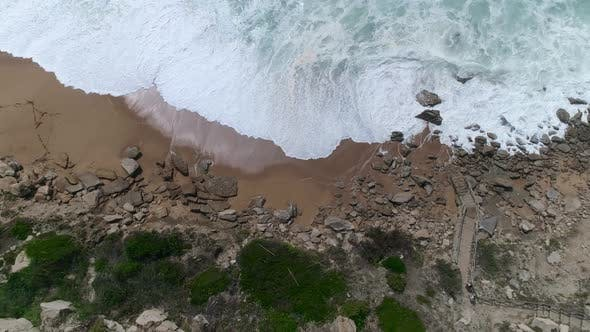 Thumbnail for Top Down View of Crushing Waves; Blue Water, Thick seafoam, Natural Abstract Pattern, Sea texture
