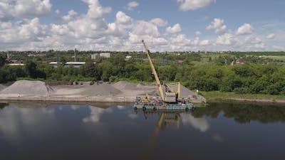 River Crane Excavator on Barge