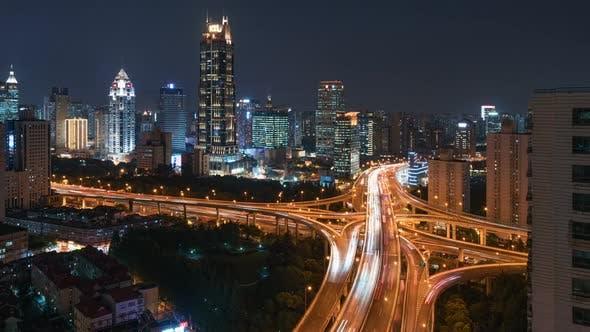 Cover Image for Shanghai, China, Timelapse  - Nine Dragon Pillar at Night