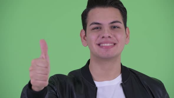 Thumbnail for Face of Happy Young Handsome Multi Ethnic Man Giving Thumbs Up