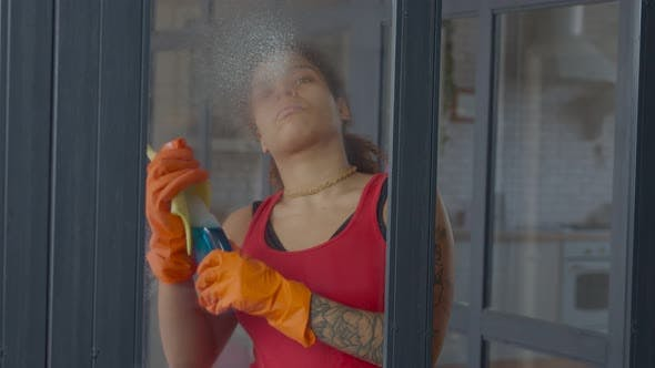 Thumbnail for Woman Cleaning Window with Rag and Detergent Spray