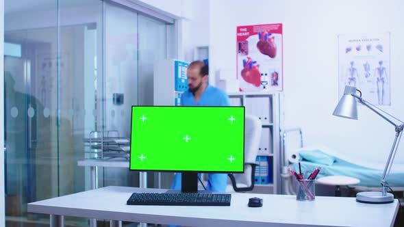 Chroma Key on Computer in Hospital Cabinet