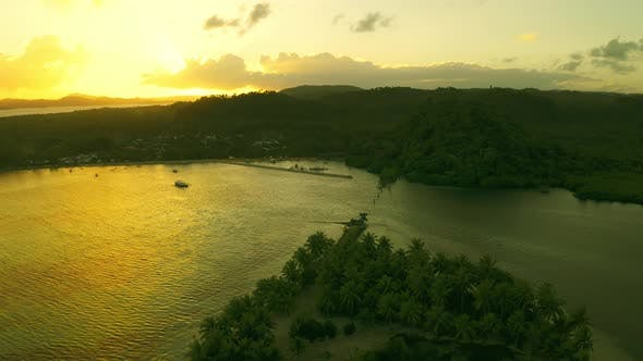 Cover Image for Beautiful Sunset Above the Coconut Plams on the Troical Beach