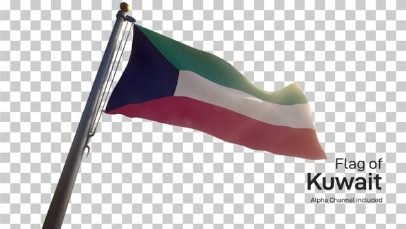 Cover Image for Kuwait Flag on a Flagpole with Alpha-Channel