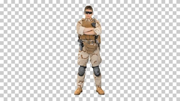 Thumbnail for Private military contractor with crossed arms, Alpha Channel