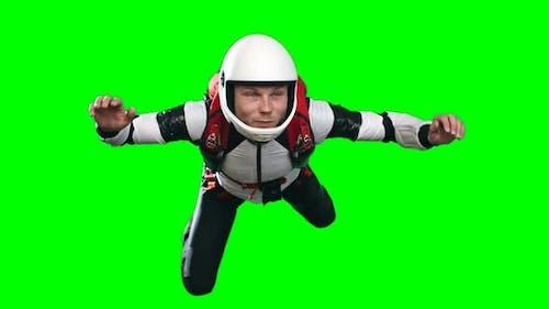Exhilarated Skydiver Flying Slowmo