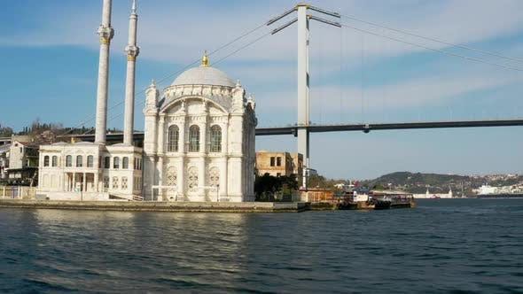 Thumbnail for Istanbul Bosphorus And Ortakoy Mosque Quarantine Aerial View 2