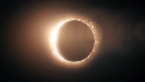 Abstract full solar eclipse on scientific black background