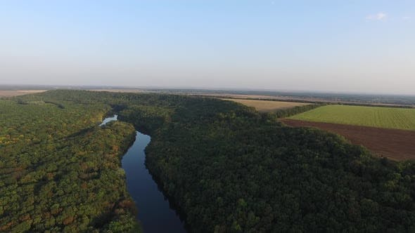 Thumbnail for Small River, Autumn Forest, Plowed Field Aerial View. Autumn Landscape