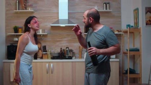 Hurt Wife Screaming at Drunk Husband