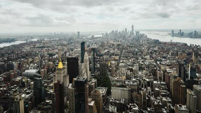 Panning Timelapse Video of the Business District of Manhattan in New York