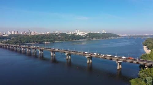 Beautiful Cityscape in Kiev near the Paton Bridge
