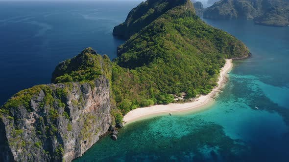Thumbnail for Aerial Drone View of Dilumacad or Helicopter Tropical Island. El Nido, Palawan Philippines. Lagoon