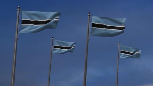 Botswana Flags  In The Blue Sky - 4K