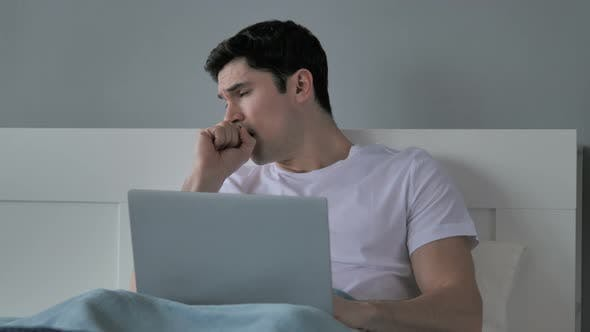 Cover Image for Sick Young Man Coughing in Bed, Cough
