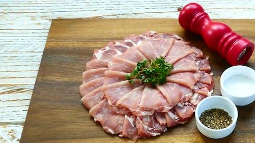 Raw fresh meat pork