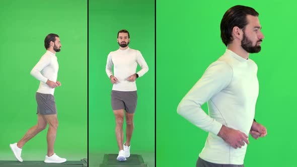 Thumbnail for Handsome Caucasian Male Athlete Jogging on a Green Screen Chroma Key