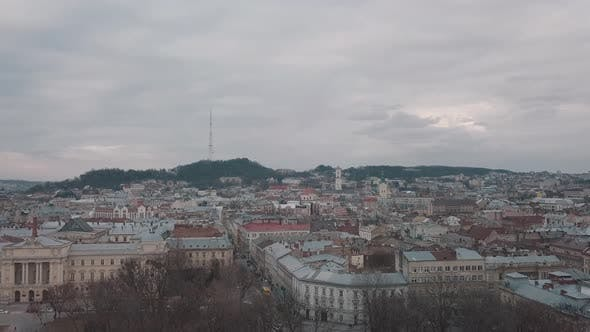 Thumbnail for Aerial City Lviv, Ukraine. European City. Popular Areas of the Town