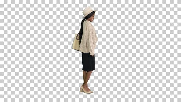 Thumbnail for Fashionable african american woman posing, Alpha Channel