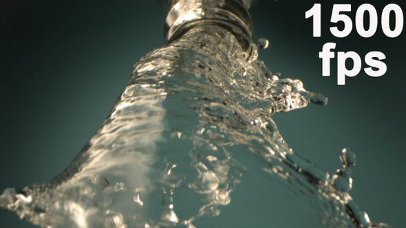 Thumbnail for Water Pouring Down From A Bottle Neck On A Biscay Green Aqua Menthe Color Background