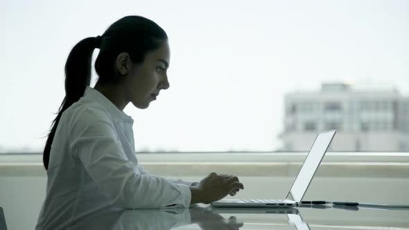 Cover Image for Focused Young Businesswoman Using Laptop