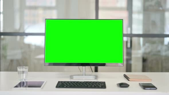 Thumbnail for Desktop with Green Chroma Key Screen Zoom In