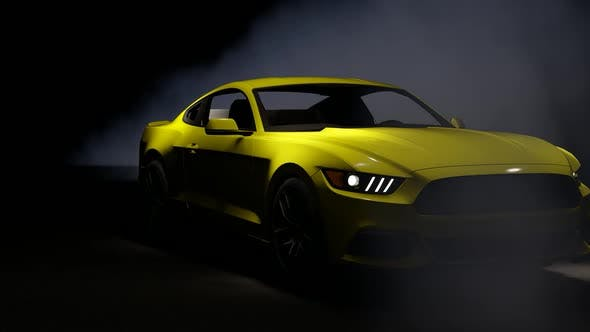 Thumbnail for Luxury Yellow Sports Car on Foggy Background