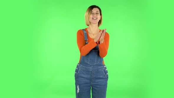 Thumbnail for Girl Claps Her Hands with Wow Happy Joy and Delight. Green Screen