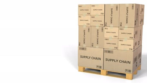 Boxes with SUPPLY CHAIN Caption