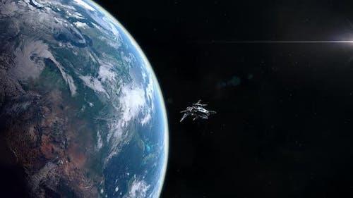 Futuristisches Raumschiff verlässt Planet Erdumlaufbahn