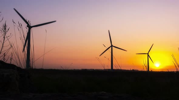 Thumbnail for Wind Farm at Sunrise Time Lapse