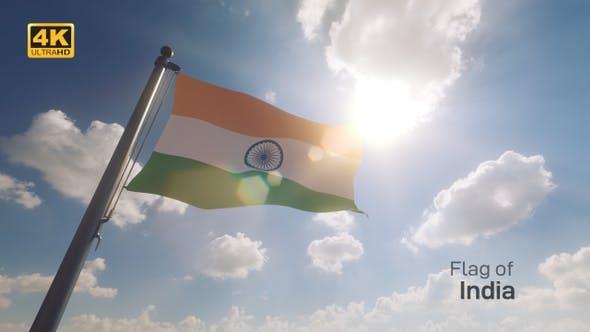 India Flag on a Flagpole V2 - 4K