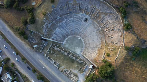 Thumbnail for Top View of Halicarnassus Ancient City. Amphitheater in the Resort Town of Bodrum. Aerial Footage